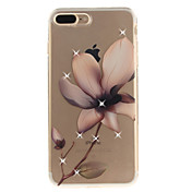 Etui Til Apple iPhone 8 iPhone 8 Plus Rhinstein IMD Gjennomsiktig Bakdeksel Blomsternål i krystall Myk TPU til iPhone 8 Plus iPhone 8