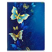 """Caso para el ipad 2 3 4 aire aire 2 favorable 9.7 """"cubierta del caso patrón de mariposa de oro material de la PU tres doblan la caja plana"""