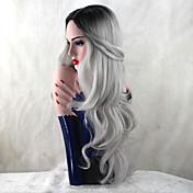여성 인조 합성 가발 긴 바디 웨이브 그레이 어두운 뿌리 자연 헤어 라인 내츄럴 가발 의상 가발