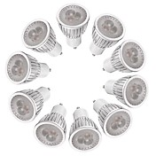 10pcs 3W 260-300lm GU10 Focos LED MR16 3 Cuentas LED LED de Alta Potencia Regulable Blanco Cálido Blanco 220-240V