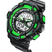 Hombre Reloj digital Digital Despertador Calendario Resistente al Agua Cronómetro Noctilucente Caucho Banda Negro