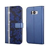 Etui Til Samsung Galaxy S8 Plus S8 Kortholder Lommebok Rhinstein med stativ Flipp Heldekkende etui Blomsternål i krystall Hard PU Leather