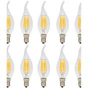 10pcs 6W 560lm E14 LED-glødepærer C35L 6 LED perler COB Dekorativ Varm hvit / Kjølig hvit 220-240V / 10 stk. / RoHs