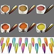 6pcs/set Pudder / Glitter Powder Elegant & Luksuriøs / Speil Effekt / Glitrende Nail Art Design
