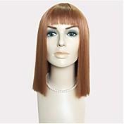 Pelo sintético pelucas Liso Natural Corte a capas Corte Bob Con flequillo Sin Tapa Peluca de Halloween Peluca de celebridades Peluca