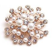 Mujer Broche Diamante sintético Perla artificial Clásico Moda Perla Artificial Legierung Flor Dorado Joyas Para Diario Cita