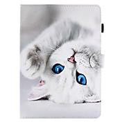 para el titular de la tarjeta de la cubierta del caso con el patrón magnético del tirón del soporte caso del cuerpo completo gato cuero
