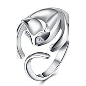 Mujer Cobre / Plateado Gato - Abierta / Moda Plata anillo Para Fiesta / Oficina y carrera