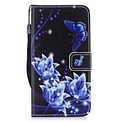 Etui Til Samsung Galaxy J3 (2017) Kortholder Lommebok med stativ Flipp Heldekkende etui Sommerfugl Hard PU Leather til J3 (2017)