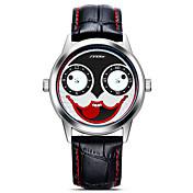 SINOBI 남성용 스포츠 시계 패션 시계 손목 시계 일본어 석영 충격 방지 큰 다이얼 가죽 밴드 만화 멋진 캐쥬얼 블랙