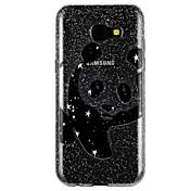 케이스 커버 Samsung Galaxy 용 A5(2017) A3(2017) 뒷면 커버 반투명 엠보싱 텍스쳐 패턴 광택 카툰 글리터 샤인 팬더 소프트 TPU A3 (2017) A5 (2017) A7 (2017) 용