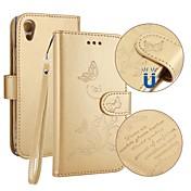 Etui Til Sony Xperia XA1 Kortholder Lommebok med stativ Flipp Inngravert Heldekkende etui Sommerfugl Hard PU Leather til Sony Xperia XA1