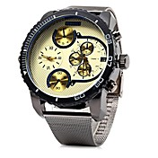 남성용 손목 시계 중국어 석영 큰 다이얼 스테인레스 스틸 밴드 멋진 블랙
