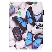 Etui Til Samsung Galaxy Tab S2 8.0 Kortholder Lommebok med stativ Mønster Auto Sove/Våkne Heldekkende etui Sommerfugl Hard PU Leather til