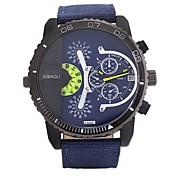 JUBAOLI Hombre Cuarzo Reloj Casual Chino Esfera Grande Acero Inoxidable Banda Cool Negro Blanco Rojo Verde Piscina