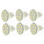 SENCART 6pcs 6W 450lm G4 / MR11 LED-spotpærer MR11 12 LED perler SMD 5730 Dekorativ Varm hvit / Kjølig hvit 12-24V