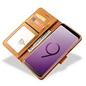Etui Til Samsung Galaxy S9 S9 Plus Kortholder Lommebok Støtsikker Flipp Heldekkende etui Helfarge Hard ekte lær til S9 Plus S9 S8 Plus S8