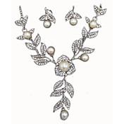 Mujer Juego de Joyas Cristal Legierung Flor Floral Boda Fiesta 1 Collar Pendientes Joyería de disfraz