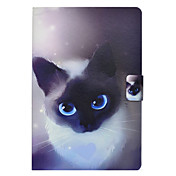 Etui Til Samsung Galaxy Tab E 9.6 Tab A 10.1 (2016) Kortholder med stativ Flipp Mønster Heldekkende etui Katt Hard PU Leather til Tab 3