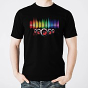 Camisetas LED  Luminoso Puro algodón LED Casual 2 Baterías AAA