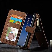 Etui Til Samsung Galaxy S9 Plus S8 Kortholder Lommebok Støtsikker med stativ Flipp Heldekkende etui Helfarge Hard ekte lær til S9 Plus S9