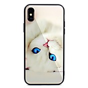 Funda Para Apple iPhone X iPhone 8 Plus Diseños Funda Trasera Gato Dura Vidrio Templado para iPhone X iPhone 8 Plus iPhone 8 iPhone 7