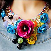 Mujer Trenzado / Collares Babero Collares con colgantes / Collares Declaración - Flor Lujo Verde, Rosa, Arco iris Gargantillas 1pc Para Fiesta, Ocasión especial, Cumpleaños