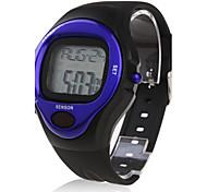 Hombre Reloj Deportivo Digital Despertador Calendario Cronógrafo Pulsómetro LCD Banda Negro