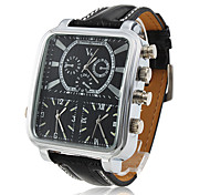 V6® Men's Watch Dress Watch Three Time Zones Rectangle Dial Cool Watch Unique Watch Fashion Watch