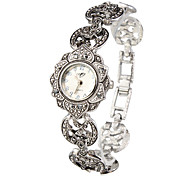 cheap -Women's Bracelet Watch Fashion Watch Japanese Quartz Casual Watch Alloy Band Flower Elegant Silver