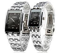 Hombre Mujer Pareja Reloj de Vestir Reloj de Pulsera Reloj de Moda Cuarzo / Acero Inoxidable Banda Casual Plata
