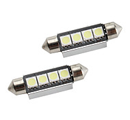 cheap -42mm 1.5W 4x5050 80LM SMD White Light LED Bulb for Car Interior Lamps CANBUS (2-Pack, DC 12V)