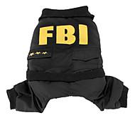 Giubbotto con pantaloni stile Agente dell'Fbi, per cani, XS-XL - Nero