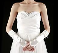 Недорогие -Сатин До локтя Перчатка Свадебные перчатки With Аппликации Оборки