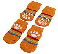 Dog Socks Casual/Daily Keep Warm Winter Spring/Fall Stripe Orange Green Blue Pink Cotton