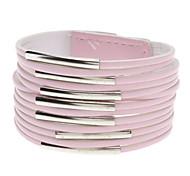 Недорогие -многослойный кожа металлический кольцо широкий браслет (розовый) элегантный style