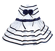 Dog Dress Dog Clothes Birthday Fashion Stripe Bowknot White/Blue Costume For Pets