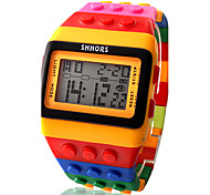 cheap -Women's Digital Digital Watch Alarm Calendar / date / day Chronograph LCD Plastic Band Candy color Wood Fashion Cool Multi-Colored