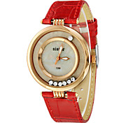 Women's Moveable Diamante Round Dial PU Band Quartz Analog Wrist Watch (Assorted Colors) Cool Watches Unique Watches