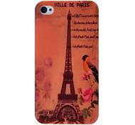 Eiffelturm und Blumen Muster Kunststoff Hard Case für iPhone 4 4S