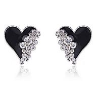 cheap -Women's Heart 1 Drop Earrings - Heart White Black Earrings For