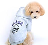 Gatto Cane Felpe con cappuccio Abbigliamento per cani Romantico Sportivo Lettere & Numeri Grigio Rosso Costume Per animali domestici