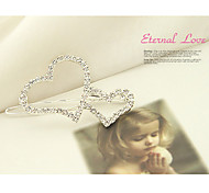cheap -Sweet Style Double Heart Silver Hairpins