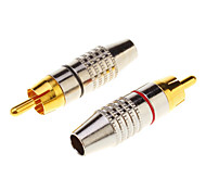 1 Pair RCA Plug Audio Cable Male Connector Gold Adapter Within the screw, free welding