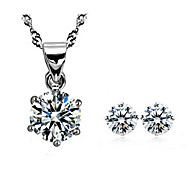 Women's Party Daily Crystal Silver Plated Alloy Earrings Necklaces
