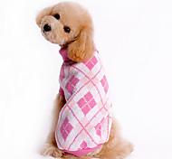 Cani Maglioni Blu / Bianco / Rosa Abbigliamento per cani Inverno A quadri