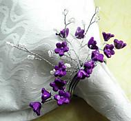 Фиолетовый цветок акриловые бусины Салфетка кольцо, Dia4.2-4.5cm набор из 12