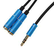 cheap -3.5mm Headphone Male to 2 Female Splitter Cable Blue (0.3M)