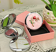 cheap -Personalized Gift Blossom Style Pink Chrome Compact Mirror