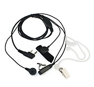 2 Pin Dual Ptt Covert Acoutic Tube Earpiece Mic For Radio Quanheng Tyt Baofeng Uv5R 888 Black